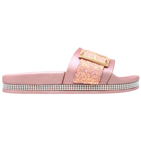 Womens Platform Sandals Glitter Buckle Rhinestone Slip On Flatform Slide Pink