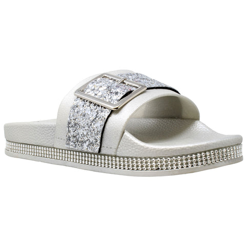 Womens Platform Sandals Glitter Buckle Rhinestone Slip On Flatform Slide Silver
