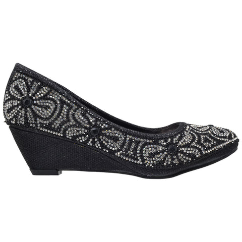 Womens Dress Shoes Slip On Wedge Pumps Floral Print Rhinestone Shoes Black