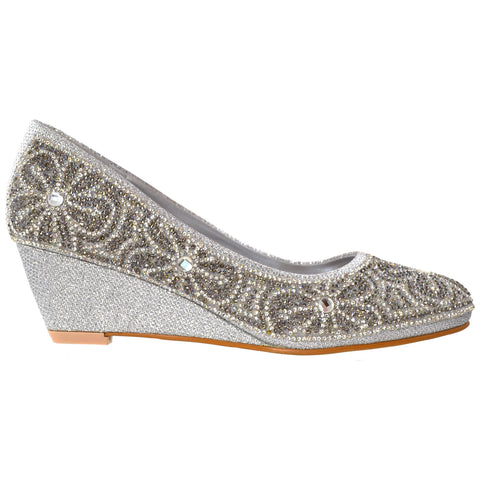 Womens Dress Shoes Slip On Wedge Pumps Floral Print Rhinestone Shoes Silver