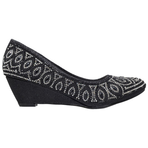 Womens Dress Shoes Slip On Wedge Pumps Rhinestone Jewel Shoes Black