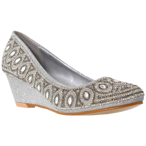 Womens Dress Shoes Slip On Wedge Pumps Rhinestone Jewel Shoes Silver