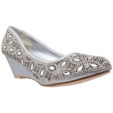 Womens Dress Shoes Slip On Wedge Pumps Rhinestone Jewel High Heels Silver