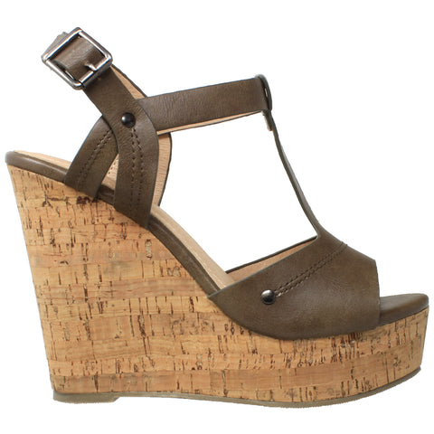 Womens Platform Sandals Open Toe Cork Wrapped T-Strap Wedges Khaki