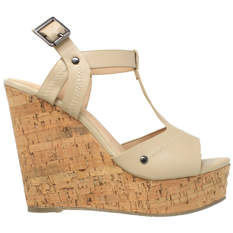 Womens Platform Sandals Open Toe Cork Wrapped T-Strap Wedges Taupe
