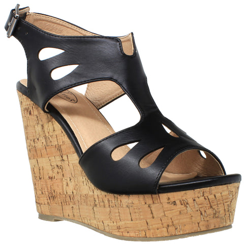 Womens Platform Sandals Cutout T-Strap Slingback Cork Wedges Black