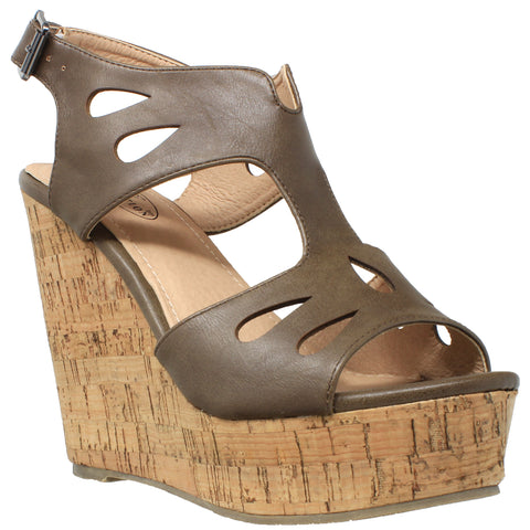Womens Platform Sandals Cutout T-Strap Slingback Cork Wedges Khaki