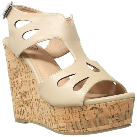 Womens Platform Sandals Cutout T-Strap Slingback Cork Wedges Taupe