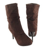 Womens Mid Calf Boots Suede Stilleto Fold Over High Heel Dress Shoes Brown