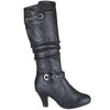 Womens Knee High Boots Buckle Accent High Heel Shoes Black