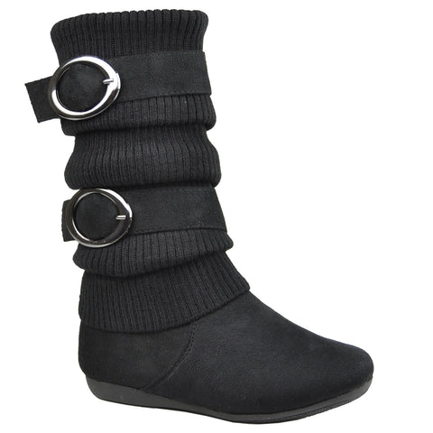 Kids Mid Calf Boots Knitted Calf and Buckle Accent Casual Shoes black