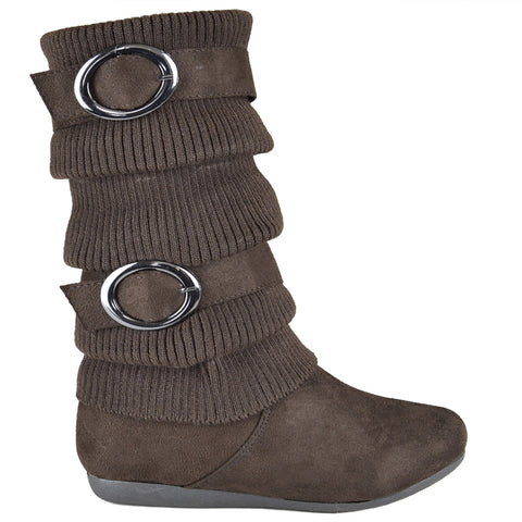 Kids Mid Calf Boots Knitted Calf and Buckle Accent Casual Shoes Brown