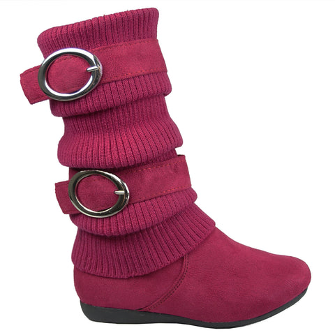 Girls Mid Calf Boots w// Knitted Buckle Straps Accent Red Size 10