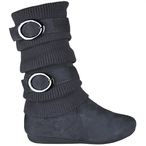 Kids Mid Calf Boots Knitted Calf and Buckle Accent Casual Shoes Gray