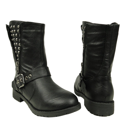 Womens Ankle Boots Spiked Zipper Combat Casual Comfort Shoes black