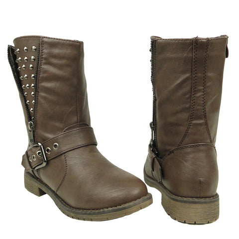 Womens Ankle Boots Spiked Zipper Combat Casual Comfort Shoes Brown