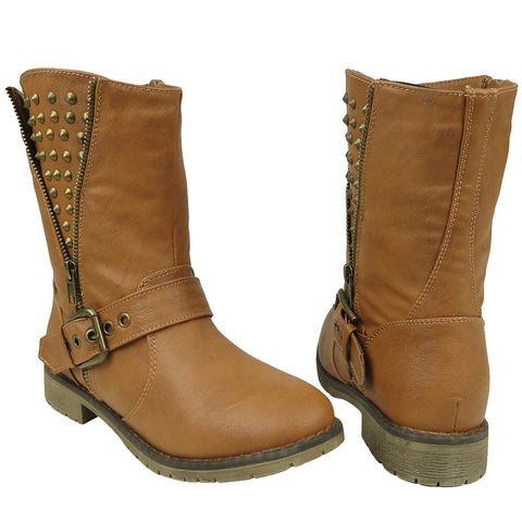 Womens Ankle Boots Spiked Zipper Combat Casual Comfort Shoes Tan