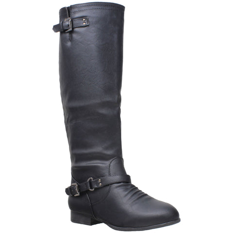Womens Riding Knee High Boots Black