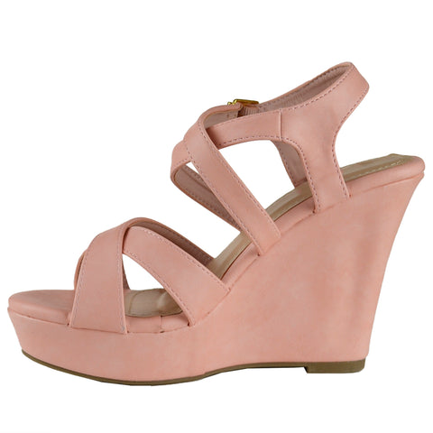 Womens Platform Sandals Strappy Buckle Accent Platform Wedge Shoes Coral