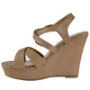 Womens Platform Sandals Strappy Buckle Accent Platform Wedge Shoes Taupe