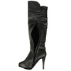 Womens Knee High Boots Crocodile Print and Buckles Zipper Closure black