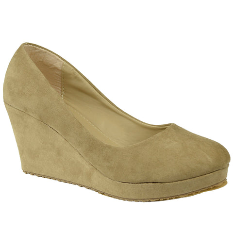 Womens Platform Shoes Slip On Suede Casual Dress Wedges Nude