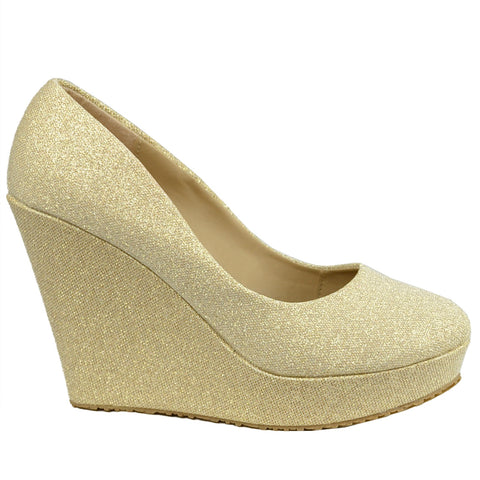 Womens Platform Shoes Glitter Accent Closed Toe Slip On Wedges Gold