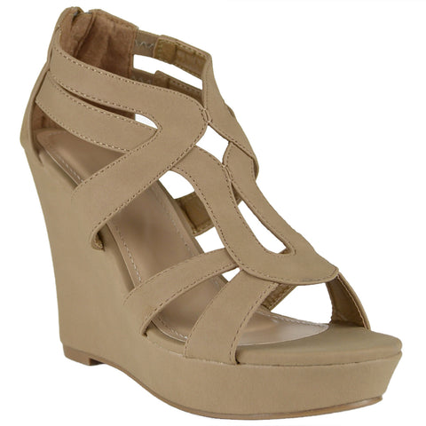 Womens Platform Sandals Sexy Gladiator High Heel Shoes Tan