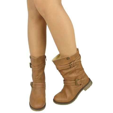 Womens Mid Calf Boots Loose Mid Calf Buckles Casual Comfort Shoes Tan