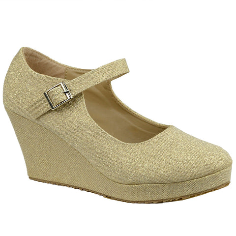 Womens Platform Shoes Glitter Accent Closed Toe Mary Jane Wedges Gold