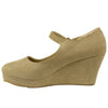 Womens Platform Shoes Casual Suede Closed Toe Mary Jane Wedges Nude