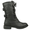 Womens Mid Calf Boots Buckles Zippers Side Zipper Closure black