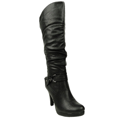 Womens Knee High Boots Ruched Lace Up Back Casual Comfort Shoes black