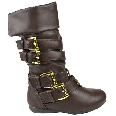 Kids Mid Calf Boots Gold Stacked Buckle Accent Casual Shoes Brown
