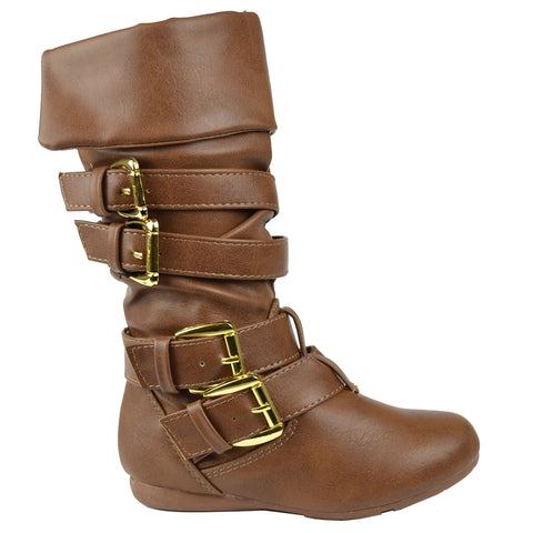 Kids Mid Calf Boots Gold Stacked Buckle Accent Casual Shoes Tan