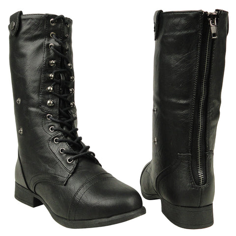 Womens Mid Calf Boots Fold Over Comfort Lace Up Shoes black