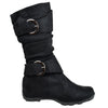 Kids Mid Calf Boots Loose Ruched Buckles Side Zipper Closure Black