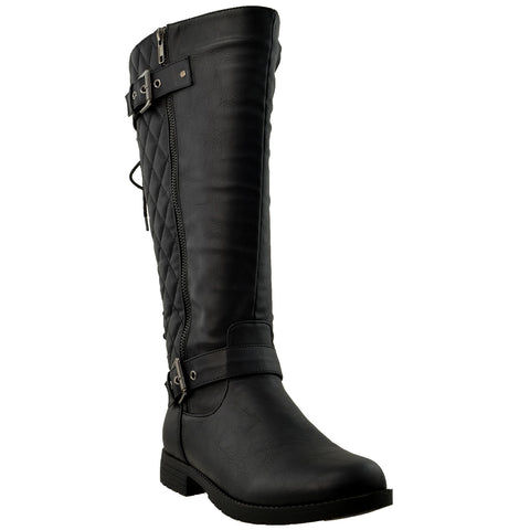 Womens Knee High Boots Quilted Back Lace Up Adjustable Strap Shoes Black