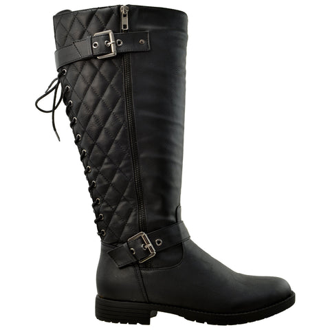 Womens Knee High Boots Quilted Back