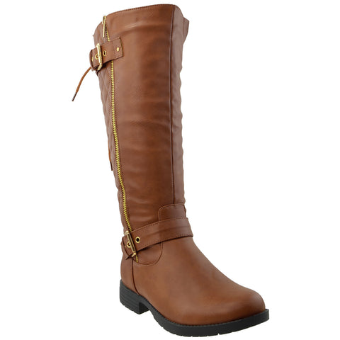 Womens Knee High Boots Quilted Back Lace Up Adjustable Strap Shoes Brown