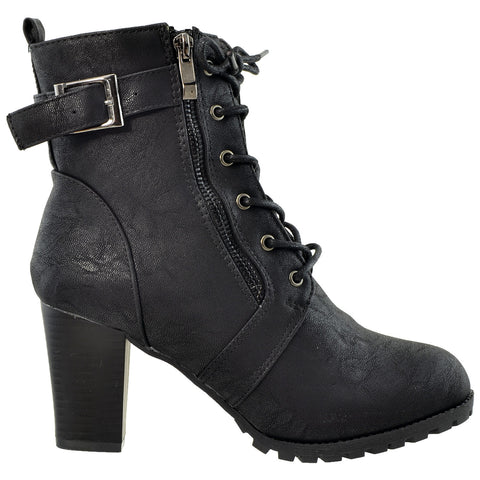 Womens Ankle Boots Lace Up Buckle Strap High Heel Booties Black