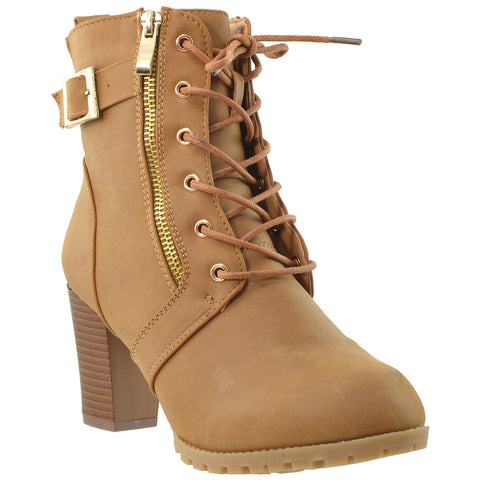 Womens Ankle Boots Lace Up Buckle Strap