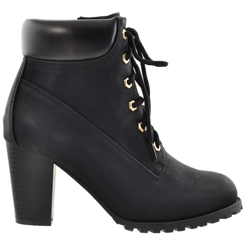 Womens Ankle Boots Lace Up Stacked Heel