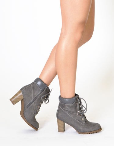 Womens Ankle Boots Lace Up Stacked Heel Ankle Padded Booties Gray