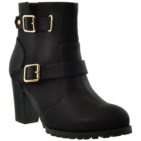 Womens Ankle Boots Gold Buckle Strap  Stacked Heel Booties Black