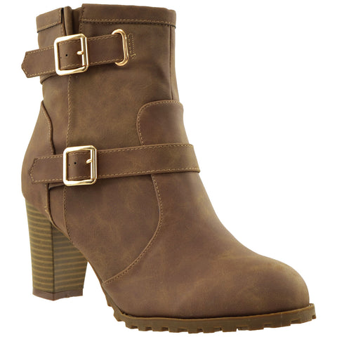 Womens Ankle Boots Gold Buckle Strap Stacked Heel Booties Brown