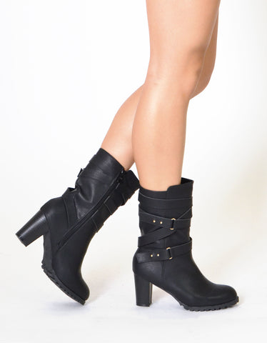 Womens Mid Calf Boots Strappy Buckle Accent Stacked Heel Shoes Black