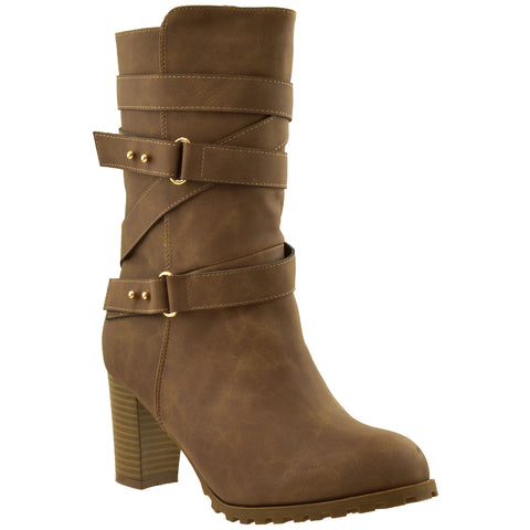 Womens Mid Calf Boots Strappy Buckle Accent Stacked Heel Shoes Brown
