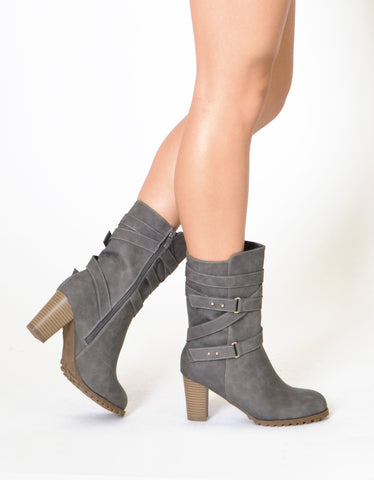 Womens Mid Calf Boots Strappy Buckle Accent Stacked Heel Shoes Gray