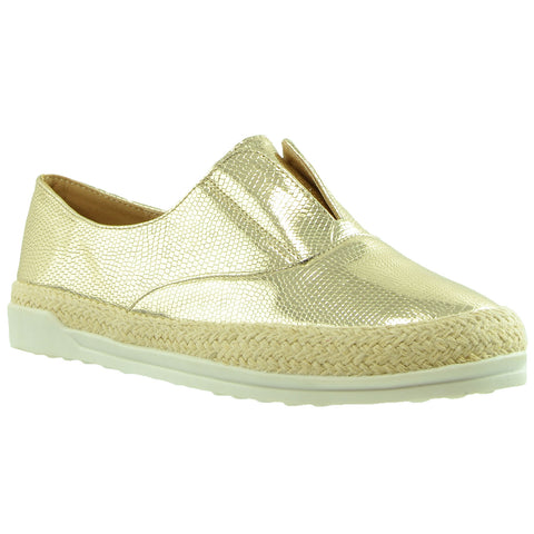 Womens Flat Shoes Snake Print Espadrilles Slip On Sneakers Gold
